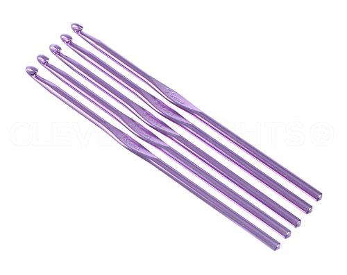 10 Pack - CleverDelights Size H (Size 8) Aluminum Crochet Hooks - 6' Length - 5mm Diameter - Knitting