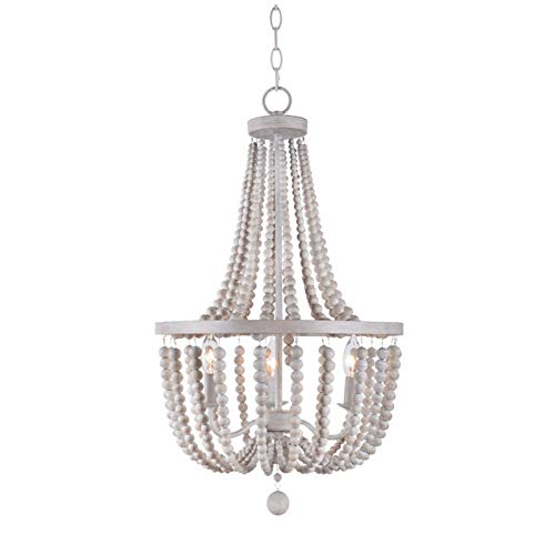 Aero Snail Modern New 3 – Light Candle Style Empire Chandelier with Wood Beads Accents Pendant Light Fixture /Weathered White