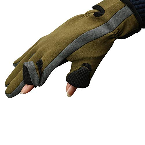 YDOZ Deporte Nuevos Guantes de Pesca de Neopreno 2 Dedos Exposable Gants Protector for Cazar Guantes Gruesos señuelo fotografía Guantes Impermeables (Color : Verde Militar, Tamaño : Large)