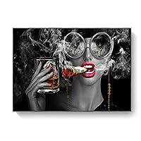 キャンバスにプリント喫煙と飲酒クールな女の子のポスターとプリントファッションメイクアップ女性の壁アート写真バー廊下家の装飾-70x100cmフレームなし