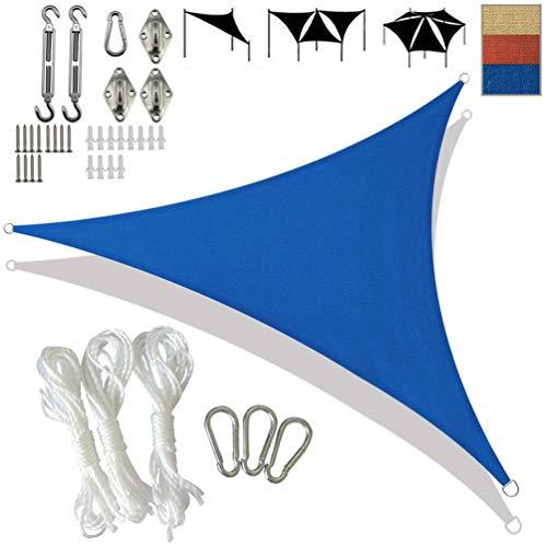 SONNIGPLUS Toldo Vela de Sombra, Toldo Parasol triángulo Anti-UV HDPE, Tasa de sombreado 95% con Anillo en D de Acero Inoxidable Accesorios, para jardín Piscina Exterior,Blue-3.6x3.6x3.6m/12x12x12ft