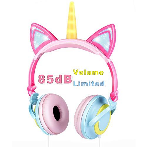 VERORAS Einhorn Kinder Kopfhörer, Leuchtende Katze Ohr LED-Kopfhörer am/über dem Ohr, Wired, Adjustable, Faltbares, 85dB Volume Limited (Abgerundetes Einhorn, Blau-Pink)
