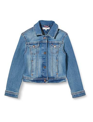 Tommy Hilfiger Mädchen Girls Basic Trucker Oclbst Jacke, Blau (Ocean Light Blue Stretch 1aa), One Size (Herstellergröße: 80)