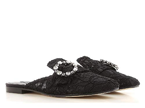Dolce & Gabbana Women's Black Satin Slippers - Thong Shoes - Size: 5.5 US