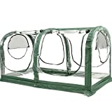 Porayhut Easy Set-Up Mini Garden Portable Greenhouse & Gardening Flower House & Plant Sunshine Room with PVC Cover,71' X35.4' X35.4' for Protecting Plant from Cold Frost & Birds & Insects