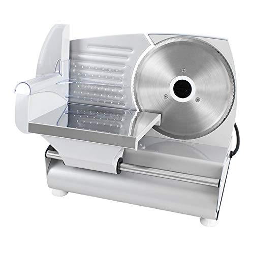 ZXWNB Allesschneider Elektrische Rostfreies Edelstahlmesser Wurstschneidemaschine Mit Einstellbare Schnittstärke (0-15Mm) Käseschneidemaschine Brotschneidemaschine 180 W Silber