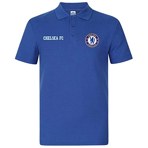 Chelsea FC Official Soccer Gift Mens Crest Polo Shirt Royal Blue Medium