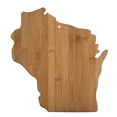 Totally Bamboo 20-7952WI Wisconsin State Shaped Bamboo Serving & Cutting Board