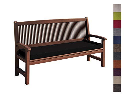 sunnypillow Coussin pour Banc de Jardin 200 x 30 x 5 cm plusieures Tailles et Couleurs à Choisir Assise Confortable pour Banc de terrasse/Balcon/Banquette/Galette de Chaise Noir