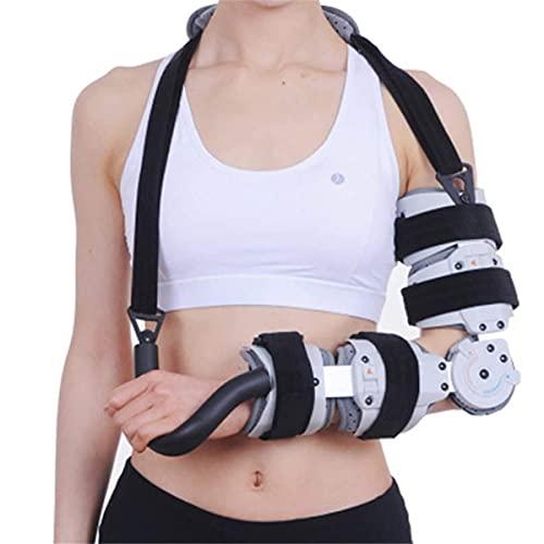 Brazo con bisagras para hombro, soporte para brazos, ortesis de codo, articulación de codo con bisagras ajustable, soporte fijo para túnel cubital, estabilizador de fracturas, lesiones, esguin