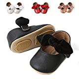 BENHERO Infant Baby Girls Sandals   Bownot Soft Leather No-Slip Toddler First Walker Mary Jane Princess Shoes(6-12 Months M US Infant), G-Black
