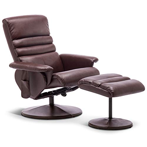 Mcombo Recliner with Ottoman, Reclining Chair with Massage, 360 Swivel Living Room Chair Faux Leather, 7902 (Dark Brown)
