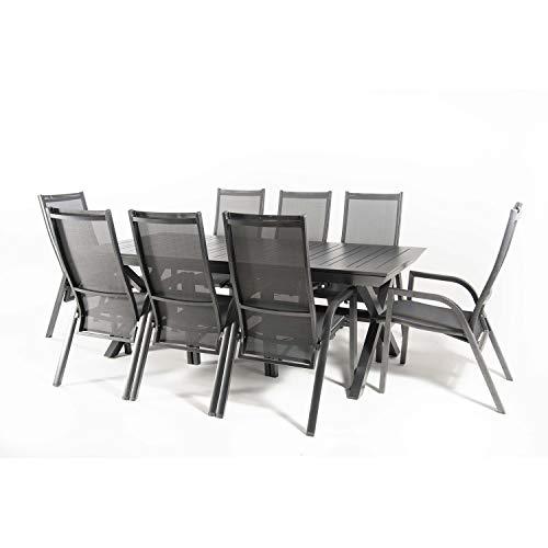 Conjunto Jardin, Mesa Extensible 215/295 y 8 sillones reclinables Aluminio Antracita, Textilene Plata y Negro, 8 plazas