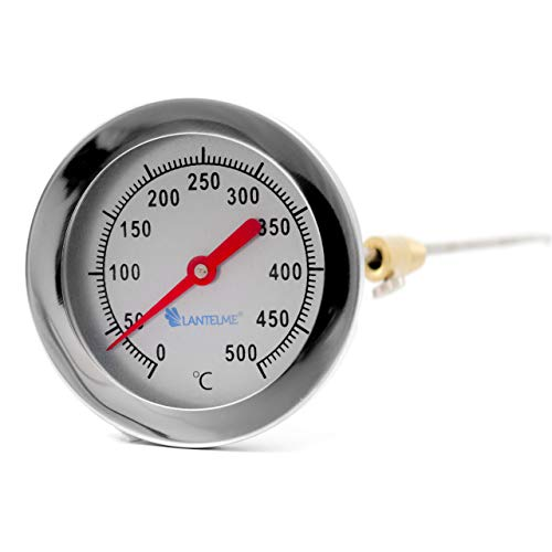 Lantelme 500 °C Grad Thermometer Edelstahl für Grill Backofen Holzbackofen und Ofen analog Bimetall Sonde 30cm lang 4012