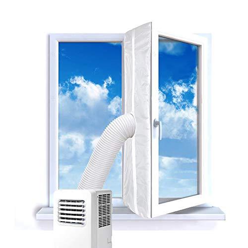 Fensterabdichtung für mobile Klimageräte,Klimaanlagen,Ablufttrockner,Hot Air Stop Für Fenster, Dachfenster,mit Reißverschluss und Klettenband Weiß 400 cm