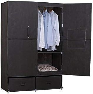 WOLTU SS5023gr-1 Armoire de Rangement en Tissu,penderie de Chambre avec tiroirs,110x46x167cm,Gris
