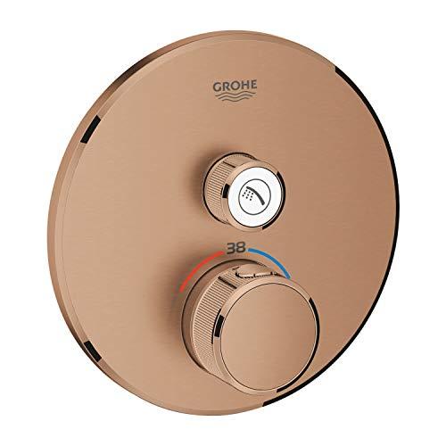Grohe 29118DL0 Thermostat Grohtherm SmartControl avec valve de fermeture, rosace murale ronde, couleur : chaud Atardecer brossé