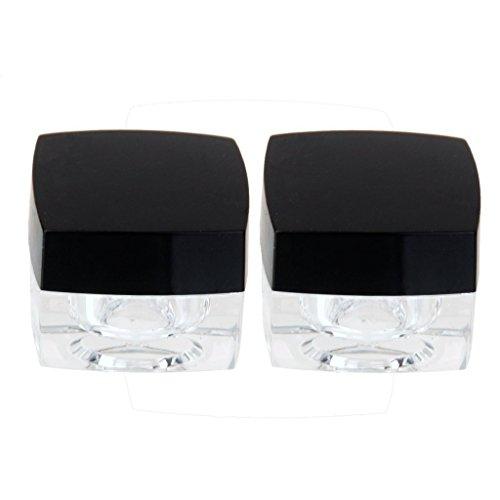Welim Plastic Pot Travel Pot Face Cream Pot Sample Containers Round Cream Pot for traveling square shape 2pcs black