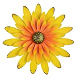 YiYa 33CM Decoración de Pared de Flores de Metal Múltiples Capas Arte de Pared de Flores Decoraciones de Arte de Pared Colgante para balcón Patio Porche Dormitorio Sala de Estar Jardín(Amarillo)