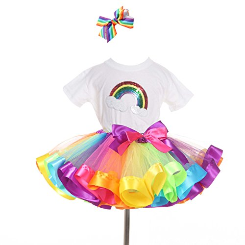 traderplus Rainbow T-Shirt and Ballet Tutu Skirt with Hair Bows Set for Baby Girls (4-6 Years)