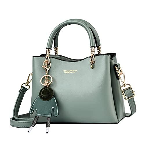 Tisdaini Donna Borse a tracolla PU pelle Moda Semplicità casual Alta capacità Borse a spalla borsetta Verde