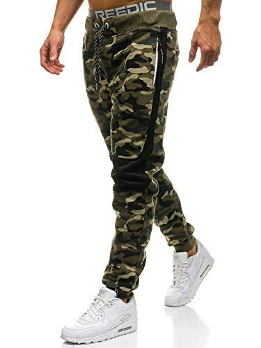 BOLF Herren Sporthose Trainingshose Jogger Army Camo Military Sportlicher Stil P&L Fashion QN269 Grün XXL [6F6]