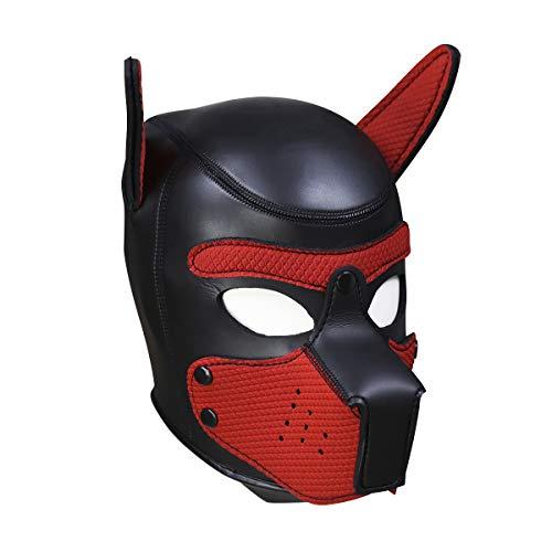 Chloefairy Fiesta de Disfraces de Halloween en látex de Goma Juego de Roles Máscara de Perro Cachorro Cosplay Cabeza Completa con Orejas (Rojo, OneSize)