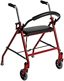 Drive Medical Two Wheeled Walker with Seat, Red