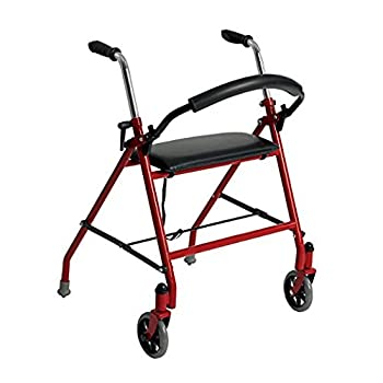 Drive Medical Two Wheeled Walker with Seat Red