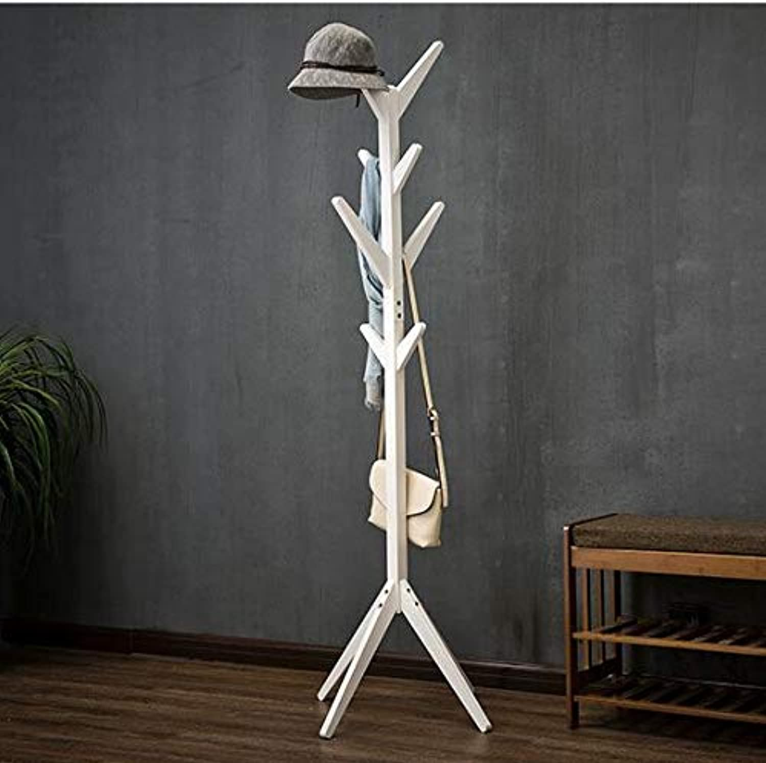 Wooden Coat Stand Tree twig Hat and Coat Rack for Entryway Hallway Bedroom Closet Wardrobe 8 Hooks 175CM Solid Wood