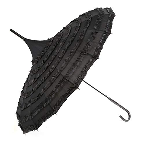 Sweetchic Ladies Sunproof Umbrella Parasol Lace Flowers Victorian Style Long Handle Umbrella