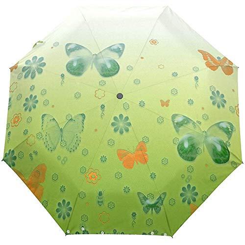 Glücklicher Tag St. Patrick Glücklicher vierblättriger Kleeblatt-Schmetterlings-Blumenblumen-Auto-Öffnen-Schließen-Sonnen-Regen-Regenschirm