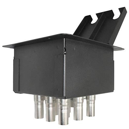 MCSPROAUDIO Recessed Floor Stage Box with 8 XLR Female to Male and 1 CAT5 Passthrough Jacks