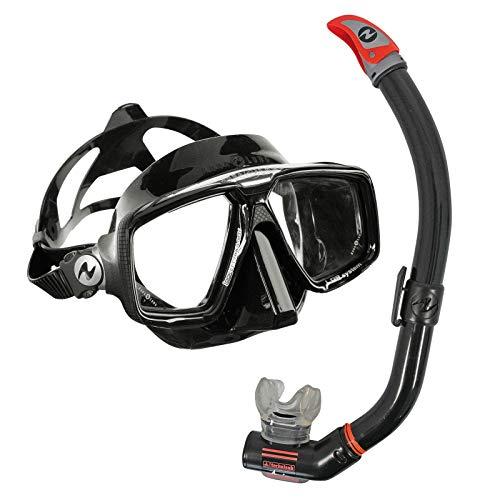 Aqualung Schnorchelset Comfort - Maske Look HD mit Schnorchel Air Ventil, Farbe:schwarz