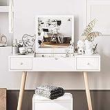 Beylore Tocador con espejo abatible, juego de mesa blanca con cajones y taburete para dormitorio (A)