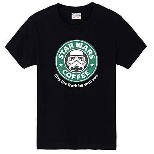 〔ELEEJE〕 スタウォーズ スターバックス コラボ Tシャツ STAR WARS COFFEE STAR BUCKS おもしろ パロディ 〔めいめい屋オリジナル〕 (L, 黒)
