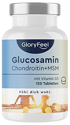 Glucosamin + Chondroitin - Knochen-Muskel-Komplex* mit MSM, Vitamin D, Calcium & Hyaluronsäure - 120 Tabletten - Laborgeprüft, vegan ohne Zusätze hergestellt in Deutschland
