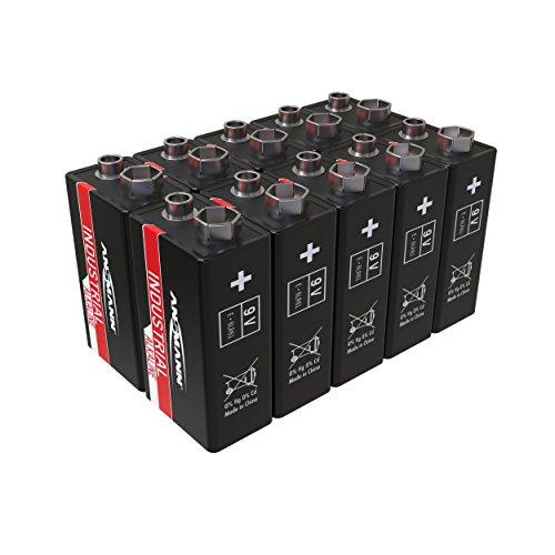 ANSMANN Industrial Alkaline Batterie 9V E-Block 6LR61 Longlife Alkalibatterie Industriebatterie für hohen Strombedarf (10er Pack)