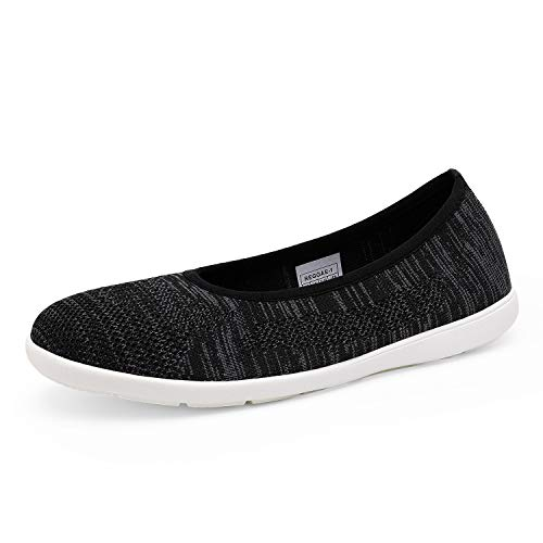 DREAM PAIRS Women's Slip On Flat Black Walking Shoes Comfortable Lightweight Breathable Mesh Knit Walking Shoes for Women Size 11 M US Reggae-1