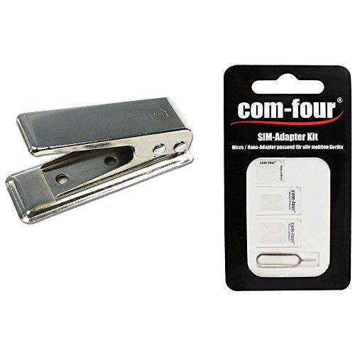 com-four Nano SIM-Karten Cutter mit Nano SIM Karten Card Adapter Nano + Micro zu Standard SIM Karte für Smartphones + Eject Pin (Set)