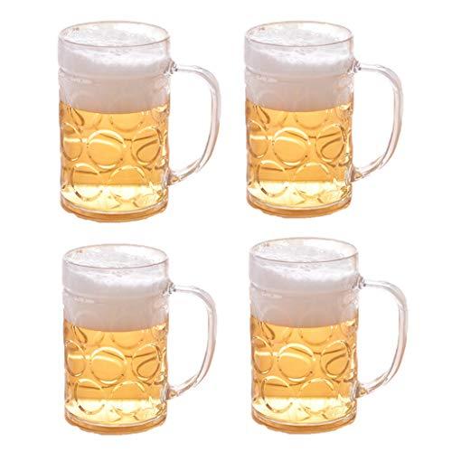 Copa Plástica Transparente De 500 Ml De Cerveza, Jarra De Cerveza De Vidrio, 17 Onzas, Juego De 4, Taza De Bebida De Jugos Taza De Bar De Comidas Taza De Café
