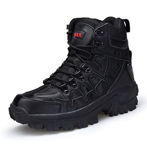 WOJIAO Botas de Tobillo de Encaje de Moda para Hombres Tácticas de Combate Seguridad Resistente al Desgaste Zapatos de policía Militar