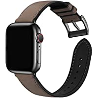 Genuine Leather & Silicone Band for 42mm/44mm Apple Watch 6/5/4/3/2/1