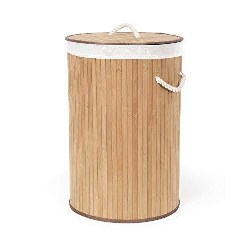Compactor, Panier à Linge Rond Pliable, Bambou, Marron, Dimensions: 40 x 40 x H.60 cm, RAN5213