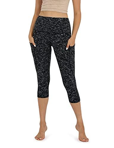 ODODOS Women's High Waisted Yoga Capris with Pockets,Tummy Control Non See Through Workout Sports Running Capri Leggings, SpaceDyeMattBlack,Medium