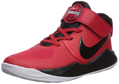 Nike Team Hustle D 9 (PS) Basketball Shoe, University Red/Black-White, 28 EU
