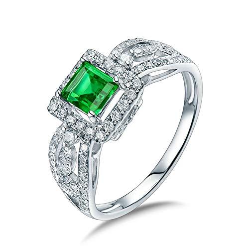 Daesar Anillo de Oro Blanco 18K Mujer,Cuadrado Esmeralda Verde 0.53ct Diamante 0.43ct,Plata Verde Talla 9,5