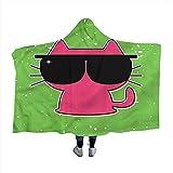 Manta de Capa para niños Felino Lindo con Gafas de Sol Manta de Invierno para Adultos 50'x40',W127cm X L102cm