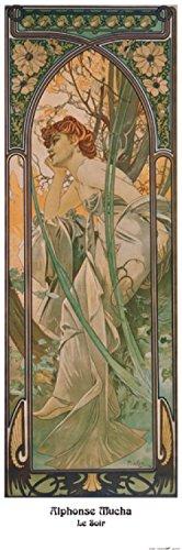 1art1 40594 Alphonse Mucha - Die Vier Tageszeiten, Der Abend, 1899 Poster Kunstdruck 91 x 30 cm