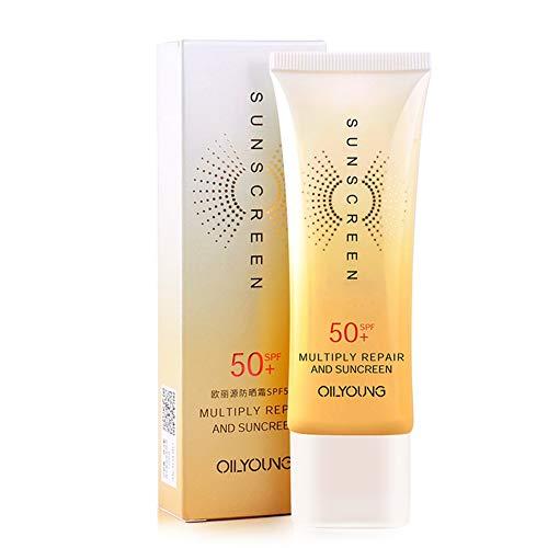 Weixinbuy Protector solar SPF 50 + aceite de control hidratante anti-UV Aislamiento facial Crema de protección solar 40 g